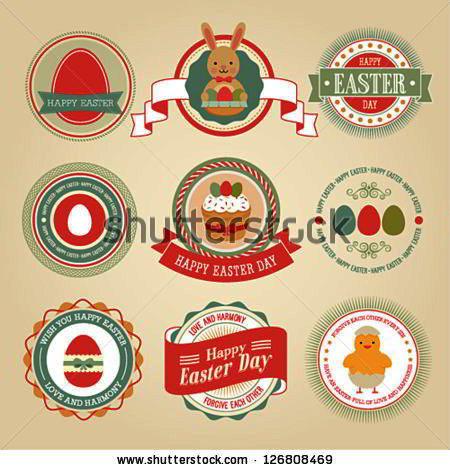 Easter set - labels and emblems. Vector illustration
