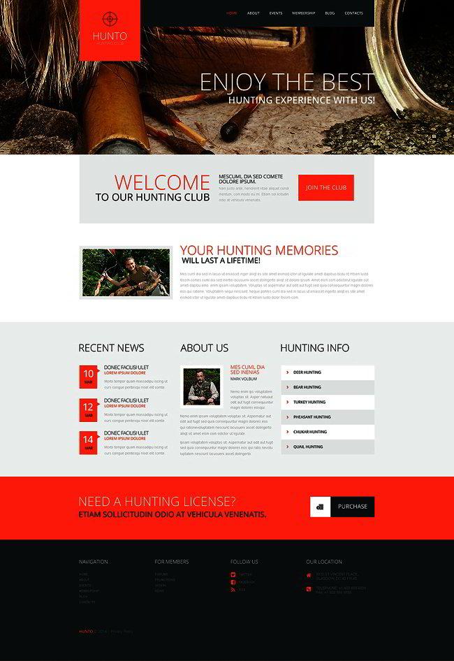 Hunting Club WordPress Theme